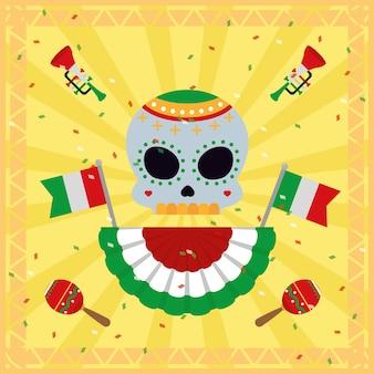 Bandeiras mexicanas e caveira