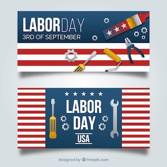 Bandeiras modernas do dia do trabalho com design plano