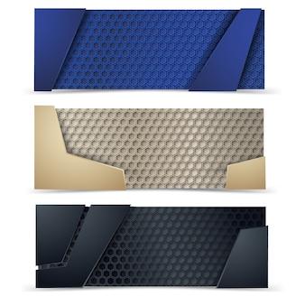 Bandeiras modernas do vetor ajustadas com textura do carbone.