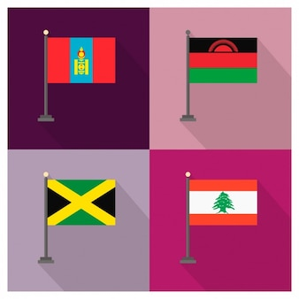 Bandeiras mongólia malawi jamaica líbano