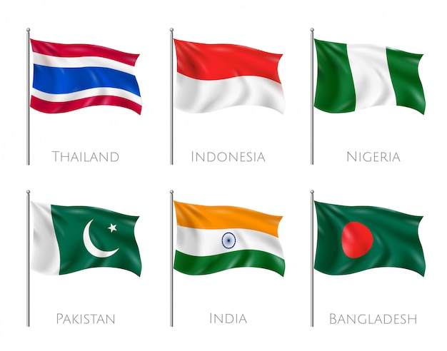 Bandeiras nacionais conjunto com sinalizadores de tailândia e indonésia realistas isolados