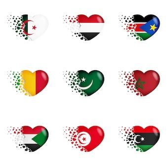 Bandeiras nacionais na ilustração do coração. com amor ao país. as bandeiras nacionais de voar pequenos corações