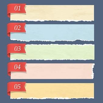 Bandeiras numeradas de papel rasgado