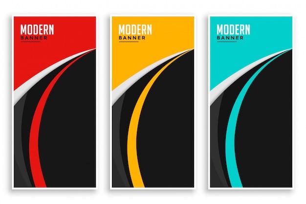 Bandeiras onduladas de curva abstrata definidas em três cores