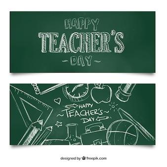 Bandeiras para o dia do professor feliz no quadro-negro