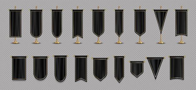 Bandeiras pendentes com maquete nas cores preta e dourada