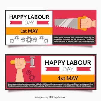 Bandeiras planas com ferramentas para o dia do trabalhador