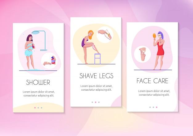 Bandeiras planas de cartões de informação de higiene feminina definidas com rosto cuidados pernas barbear e dicas de ilustração vetorial de chuveiro