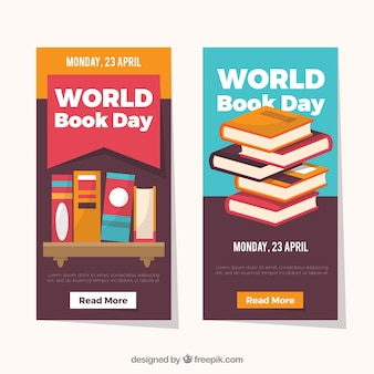 Bandeiras planas verticais do dia mundial do livro