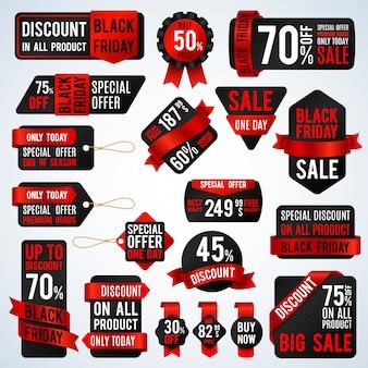 Bandeiras pretas da venda de sexta-feira e etiquetas do preço, vendendo o cartão e o grupo do vetor das etiquetas do disconto. desconto e oferta de etiqueta para ilustração de promoção de loja