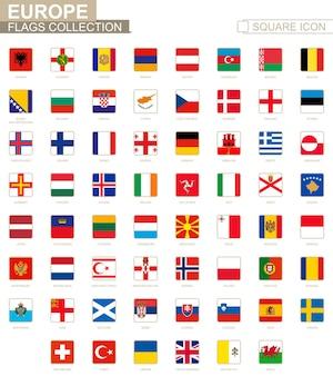 Bandeiras quadradas da europa. da albânia ao país de gales. ilustração vetorial.
