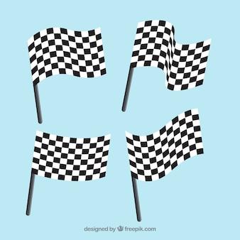 Bandeiras quadriculadas com design plano