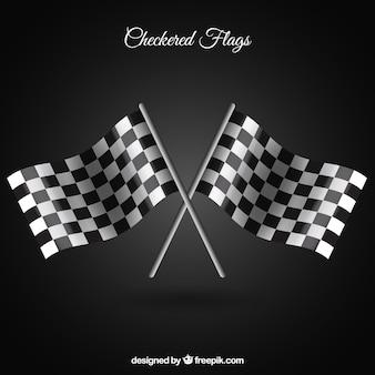 Bandeiras quadriculadas com estilo realista