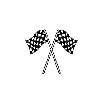 Bandeiras quadriculadas pretas e brancas cruzadas ícone de esboço desenhado mão. acabamento de corrida, conceito de competição. ilustração de desenho vetorial para impressão, web, mobile e infográficos em fundo branco.