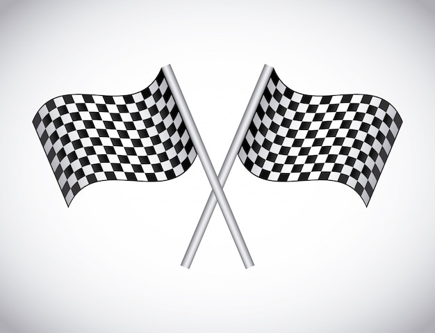 Bandeiras quadriculadas sobre ilustração vetorial de fundo cinza