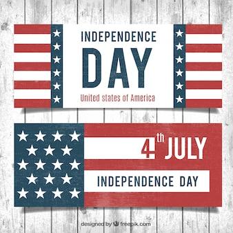Bandeiras retros do 4º dia da independência de julho