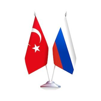 Bandeiras russas e turcas. ilustração em vetor conceitual sobre amizade entre as pessoas e os países.