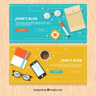 Bandeiras tecnológicas do blogue em design plano