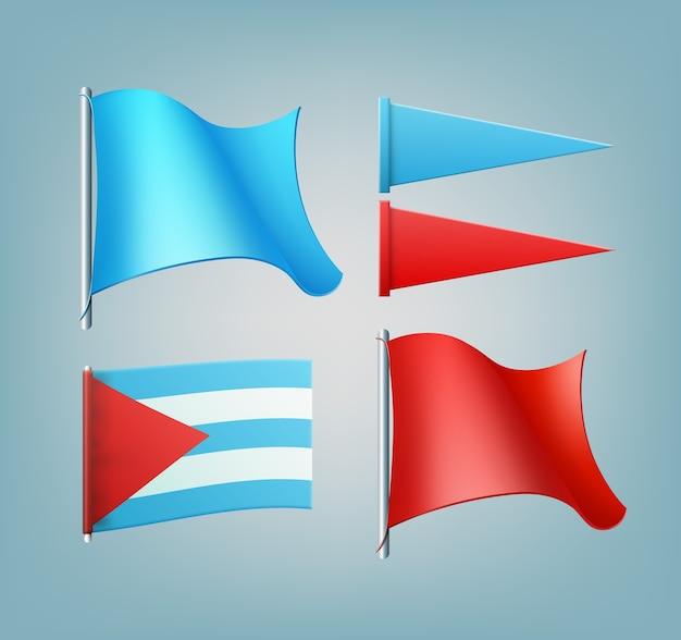 Bandeiras têxteis coloridas com diferentes formas em combinação de cores vermelha e azul
