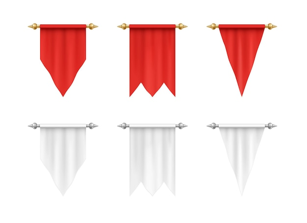 Bandeiras triangulares definidas bandeira têxtil realista 3d isolada