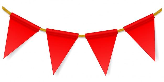 Bandeiras triangulares em uma corda