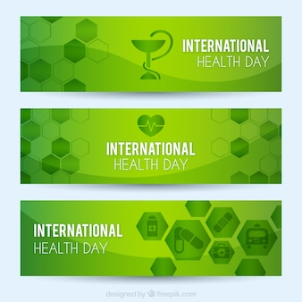 Bandeiras verdes do dia da saúde internacionais com hexágonos