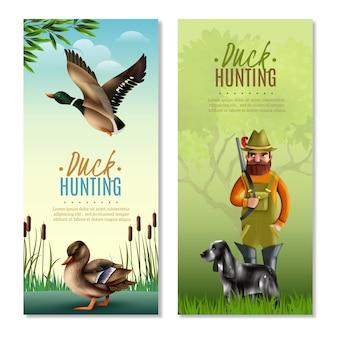 Bandeiras verticais de caça ao pato