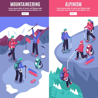 Bandeiras verticais de turismo de montanha