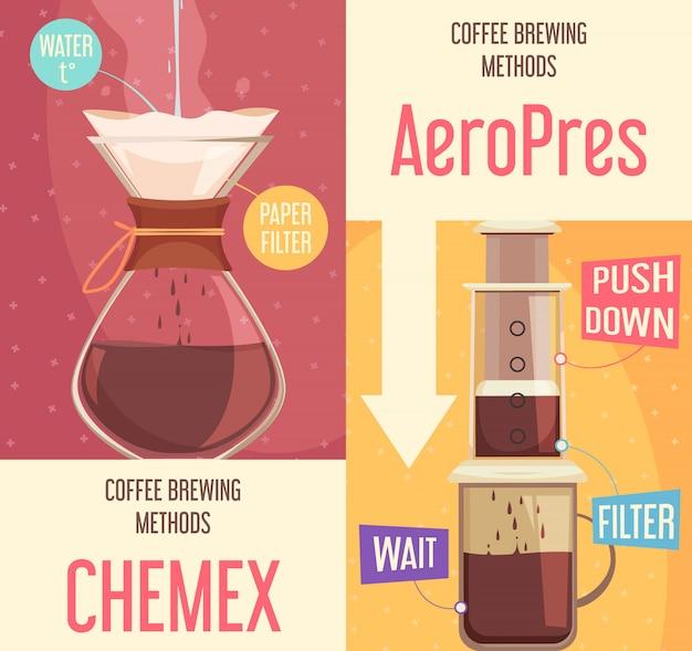 Bandeiras verticais dos métodos de fabricação de café