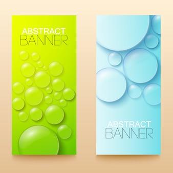 Bandeiras verticais verdes e azuis de gotas e bolhas configuram ilustração isolada realista