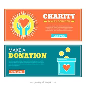 Bandeiras vintage do dia da caridade