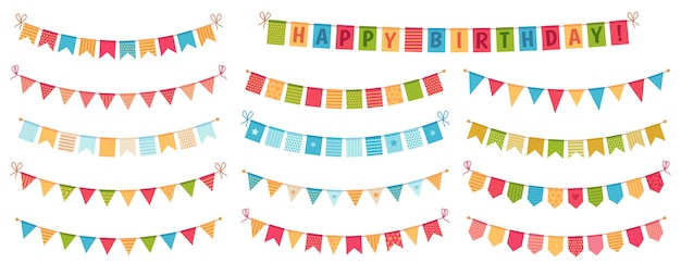 Bandeirinha de festa. bandeiras triangulares de papel colorido coletadas e cobertas com guirlandas, bandeiras de feliz aniversário