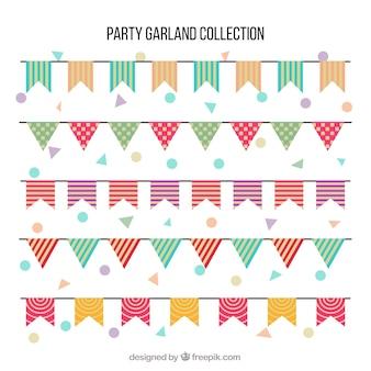 Bandeirolas coloridas em estilo plano