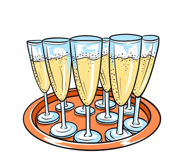 Bandeja com taças de champanhe em estilo cartoon, isolado no fundo branco.