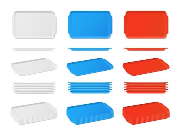 Bandeja de comida em branco plástico realista com alças. saladeiras de cozinha retangulares