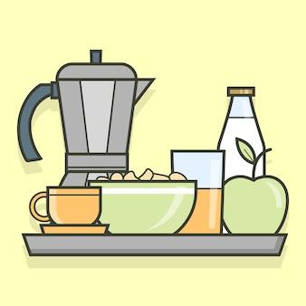 Bandeja de desenhos animados com café da manhã