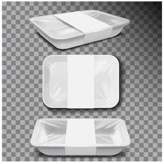 Bandeja de plástico branco comida, recipiente de refeição de espuma escura, caixa vazia para ilustração vetorial de comida