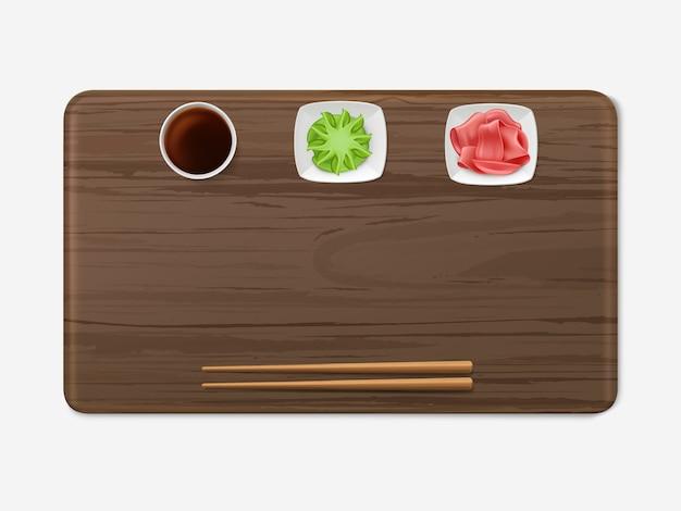 Bandeja de sushi com condimentos conjunto cozinha japonesa
