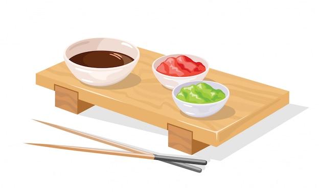 Bandeja de sushi de madeira com pauzinhos