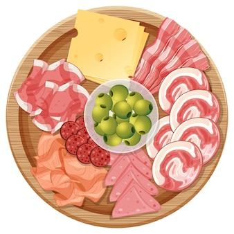 Bandeja de vários frios e queijos isolados no fundo branco