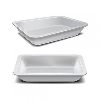 Bandeja plástica de comida, recipiente de refeição de espuma escura, caixa vazia para ilustração vetorial de comida