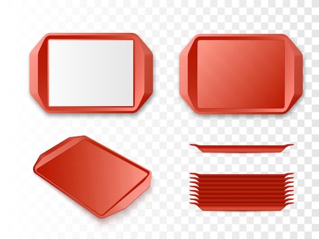 Bandejas de plástico vermelho vetor maquete de vetor