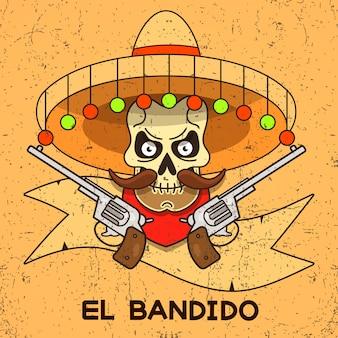Bandido de caveira de oeste selvagem com ilustração de pistolas