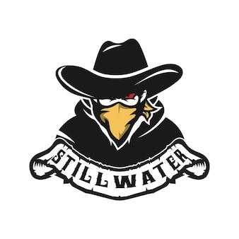 Bandido do oeste selvagem cowboy gangster com logotipo da máscara de lenço bandana