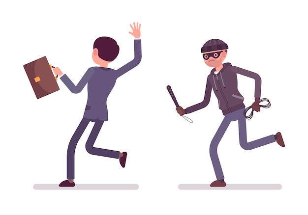 Bandido perseguindo sua vítima