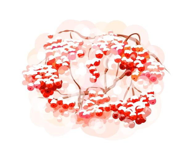 Bando de bagas de sorveira com respingos de aquarelas. esboço desenhado de mão. ilustração de tintas