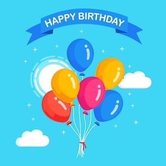 Bando de balão de hélio no céu azul com nuvens, voando com bolas de ar no fundo. feliz aniversário, conceito de férias. decoração de festa.
