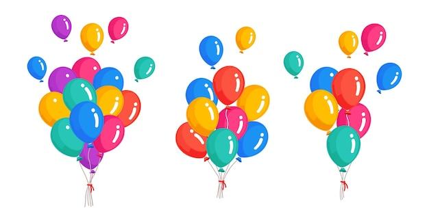 Bando de balão de hélio, voando com bolas de ar. feliz aniversário, conceito de férias. decoração de festa
