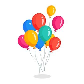 Bando de balão de hélio, voando com bolas de ar isoladas no fundo branco.