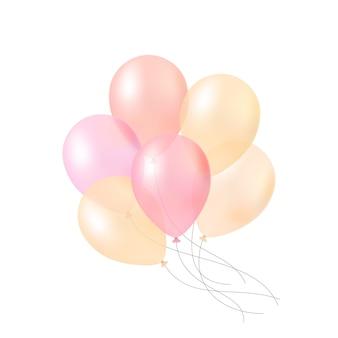 Bando de balões de ar transparente colorido pastel